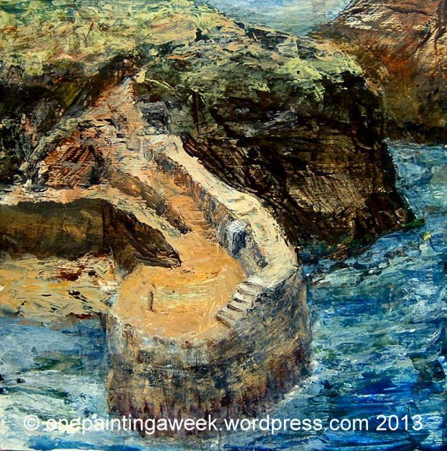 Landscape Painting Cornwall Boscastle Harbour Quay