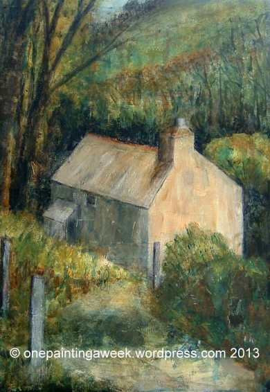 Cottage woods painting landscape Cornwall Boscastle