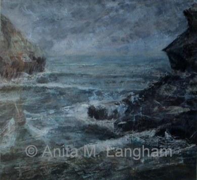 Sea Painting Boat Coast Landscape Cornwall Boscastle