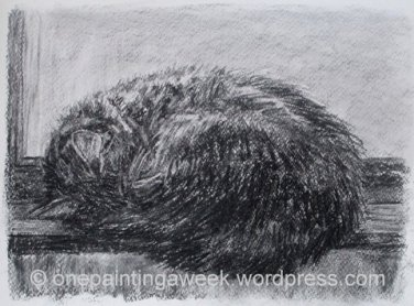 Image cat sleep curled drawing charcoal animal https://onepaintingaweek.files.wordpress.com