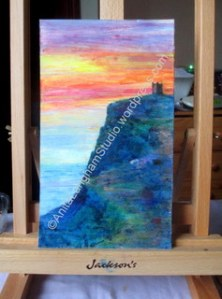 Boscastle Sunset II on easel