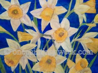 Daffodils Spring Blue Flower Painting