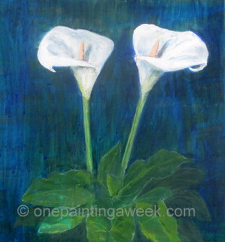 Calla Lilies Acrylic Painting