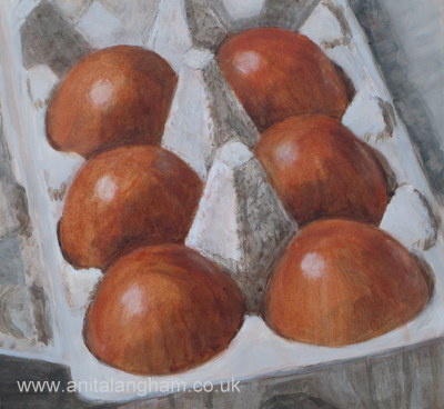Brown Eggs Painting; Still Life Painting; 30 in 30 Challenge
