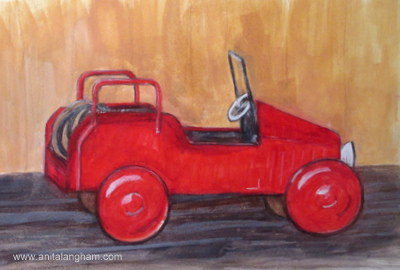 Red Car Painting; Red Painting; #30 in 30 Challenge