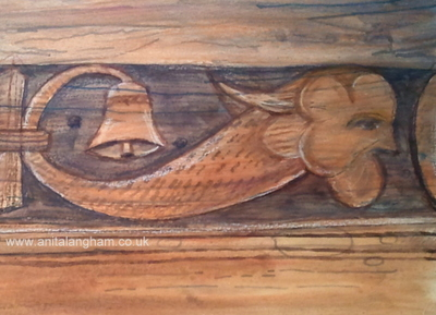 Medieval Creature Man Fish Carving Drawing