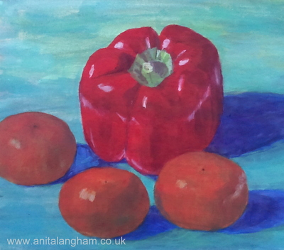 red pepper satsumas fruit vegetables orange blue still-life acrylic painting