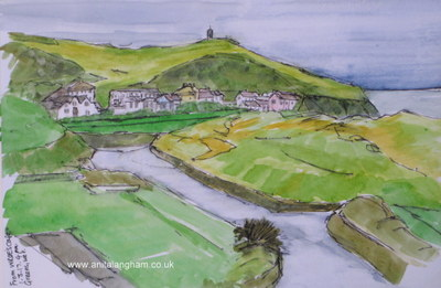 Bude green spring watercolour painting