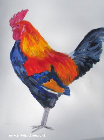 Cockerel farmyard animal bird painting