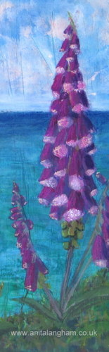 Foxgloves on the Cliffs (Work In Progress) Flower Painting