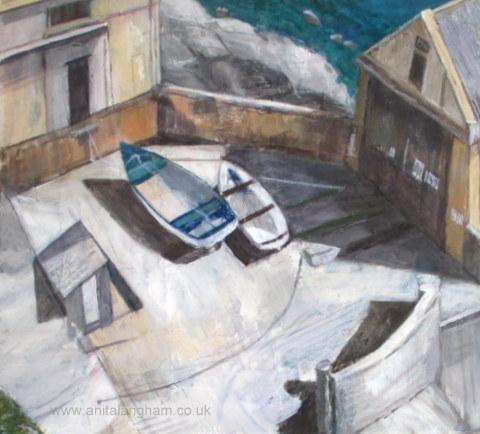 Lizard Quay Cornwall Boats Acrylic Painting
