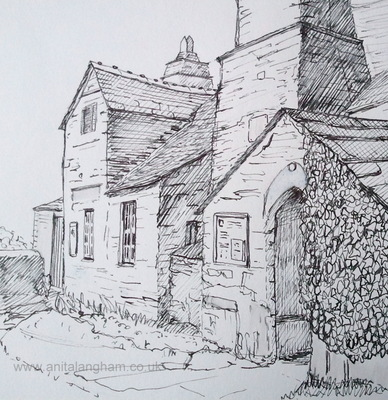 Old Post Office Tintagel Pen & Ink Drawing