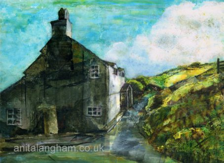 Cornish Cottage Boscastle Mixed Media Painting