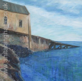 Lizard Quay Boathouse Mixed Media Painting in Progress
