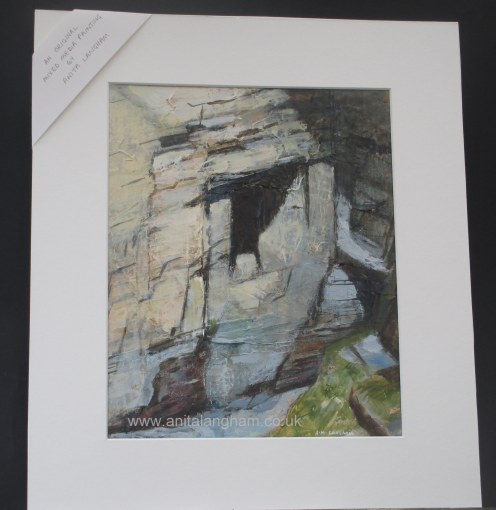 Mine Entrance Trebarwith Strand rocks painting