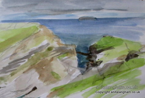 Moody Sky over Tintagel Coast Drawing Sketch