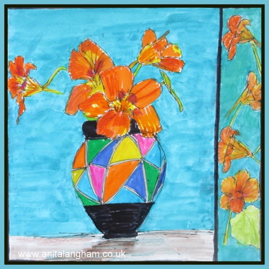 Flower Nasturtiums blue painting art