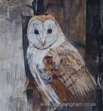 Barn Owl Bird Watercolour Mixed Media Painting