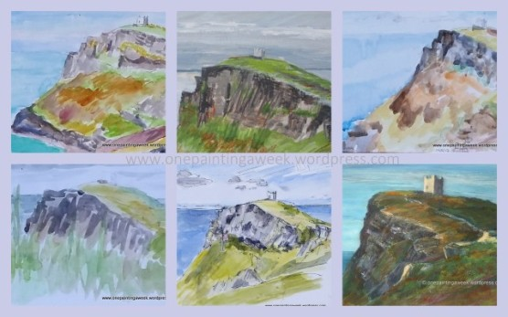 Boscastle Cornwall Lookout Tower Langdscape Drawings paintings
