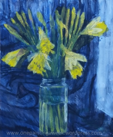 Yellow daffodils blue flower painting
