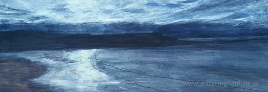 Bude Beach Cornwall Winter blue landscape painting