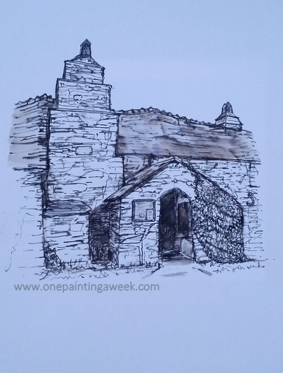 Pen & Ink drawing Tintagel Old Post Office Old National Trust Building Cornwall
