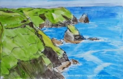 Drawing Boscastle Cornwall Coast Sea