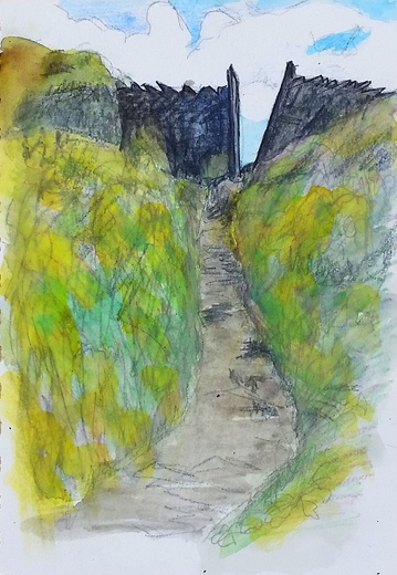 Drawing Cornwall Coast path stile colour Tintagel Castle Green