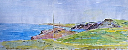 Sketch Drawing Boscastle Cornwall Coast Spring