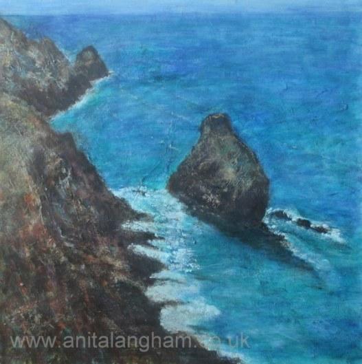 Boscastle Cornwall Cliffs Sea coast blue painting