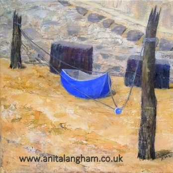 Blue Boat in Harbour sand painting