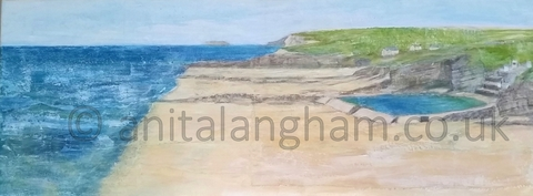 Bude Beach Seapool Lundy Island Painting