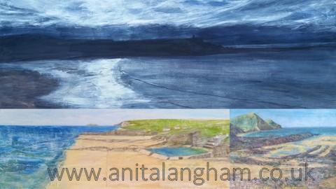 Bude Exhbibition paintings Bude Sunset Sea Pool Crackington painting