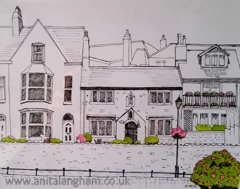 Bude cottages Pen and ink drawing