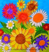 Bright summer flowers daisies drawing