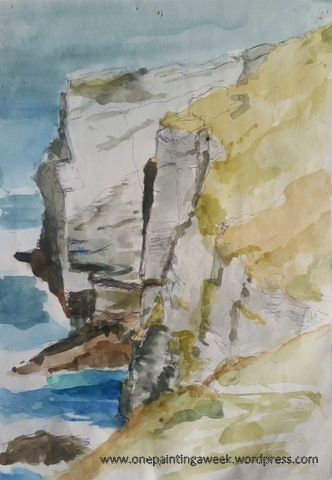 Sketch Dunderhole_Point Tintagel Watercolour