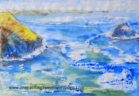 Trebarwith & Gull Rock sea sketch