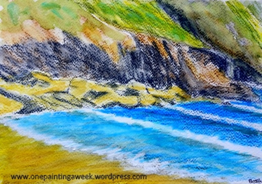 Bossiney Beach sea sketch