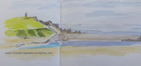 Bude beach May sea sand sketch