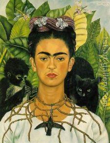 Frida Kahlo Self-portrait with Monkey & Cat