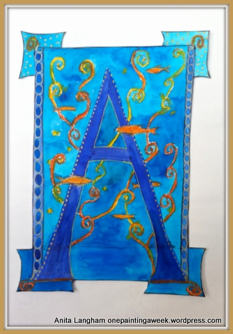 A is for... Letter A fishes Medieval letters blue illustration