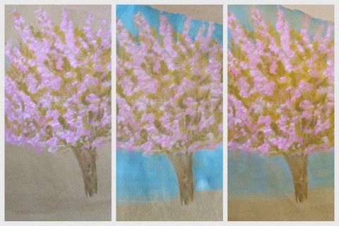 Cherry Blossom Tree pink & blue sketch