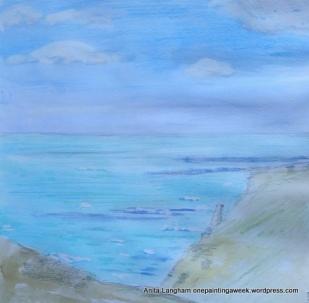 Castle Island, Tintagel & Sea Paint sketch onepaintingaweek.wordpress.com