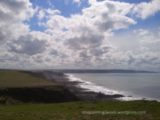 Dramatic clouds over Widemouth Bay, Cornwall